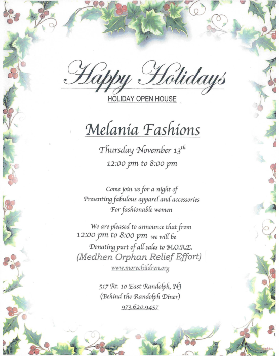 Melania Fashions Open House benefitting MORE